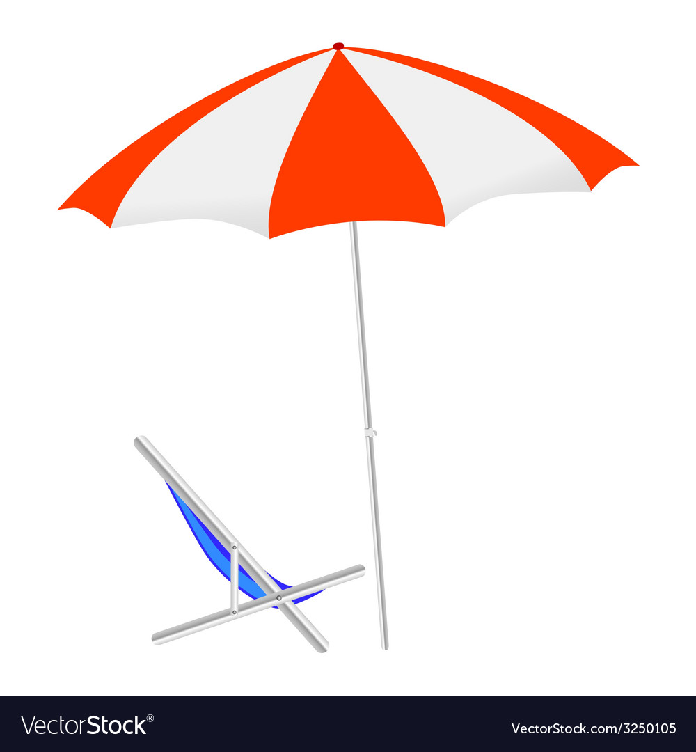 Umbrella and chairs on the beach vector | Price: 1 Credit (USD $1)