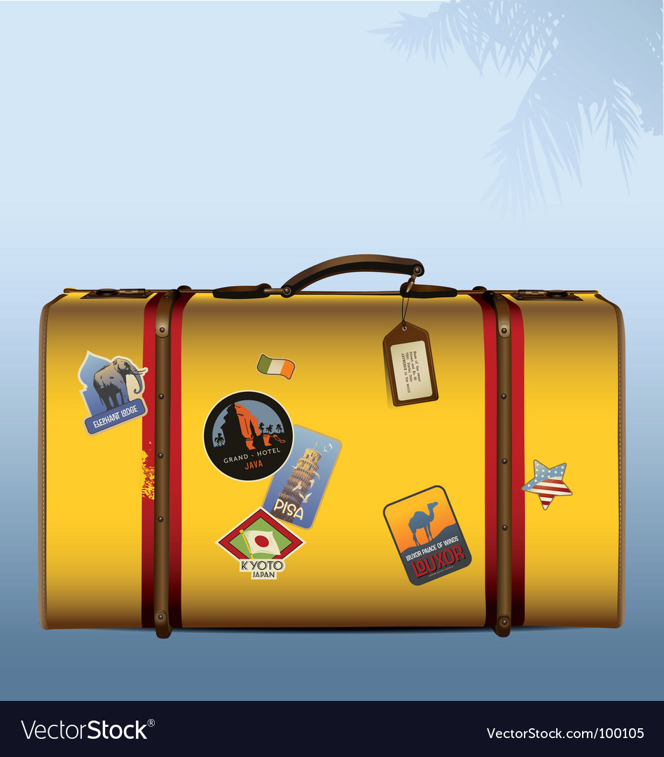 Vintage suitcase yellow vector | Price: 1 Credit (USD $1)