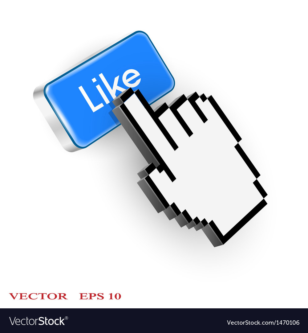 Blue button with like text and hand cursor vector   Price: 1 Credit (USD $1)