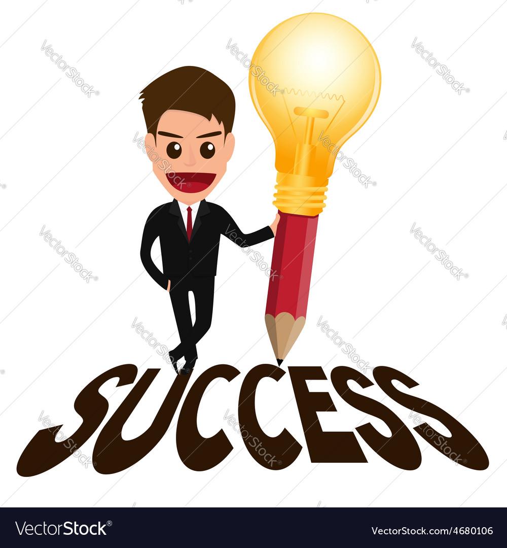 Businessman successful concept and lightbulb penci vector | Price: 1 Credit (USD $1)