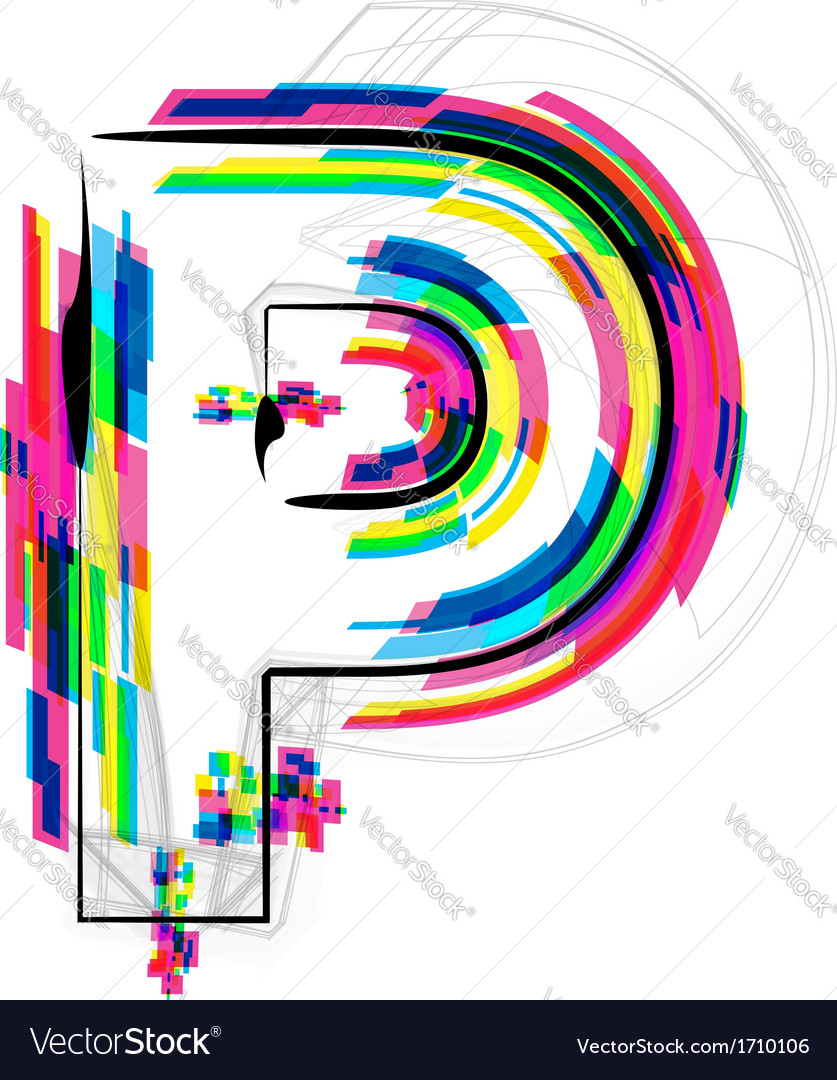 Colorful font letter p vector