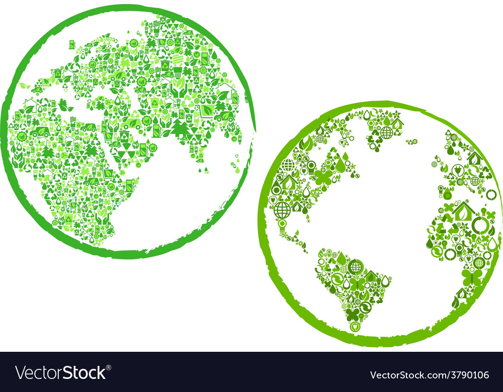 Green eco globes vector | Price: 1 Credit (USD $1)