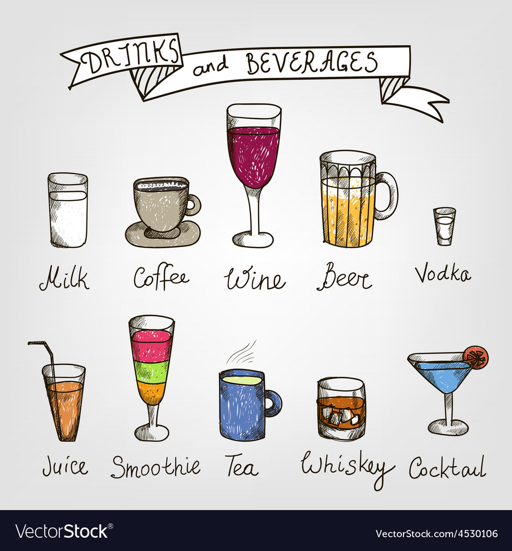 Set of hand drawn drinks vector | Price: 1 Credit (USD $1)