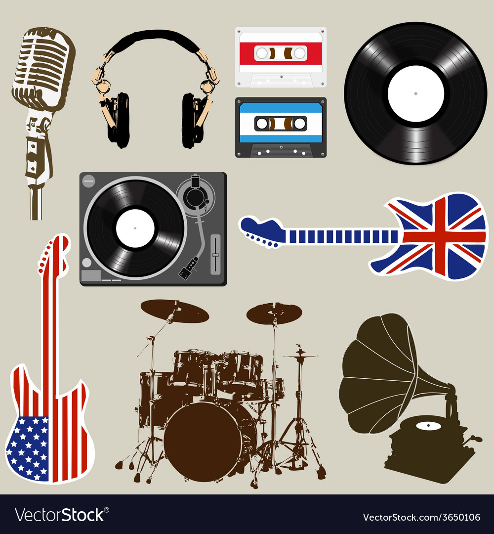 Set of music and sound objects vector | Price: 1 Credit (USD $1)