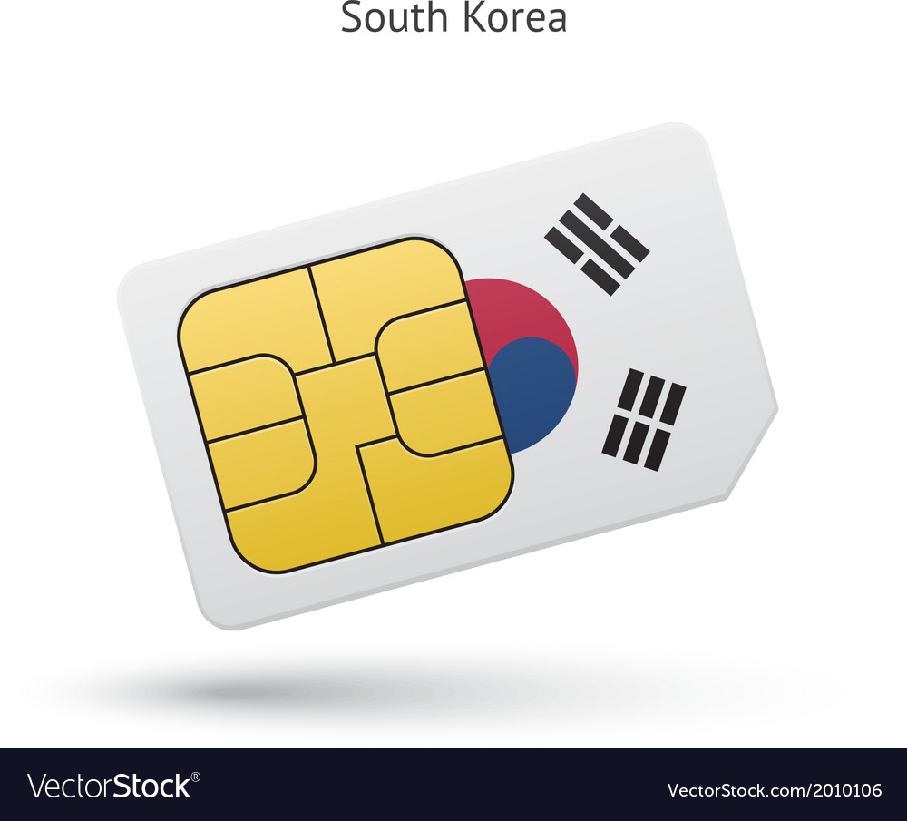 South korea mobile phone sim card with flag vector | Price: 1 Credit (USD $1)