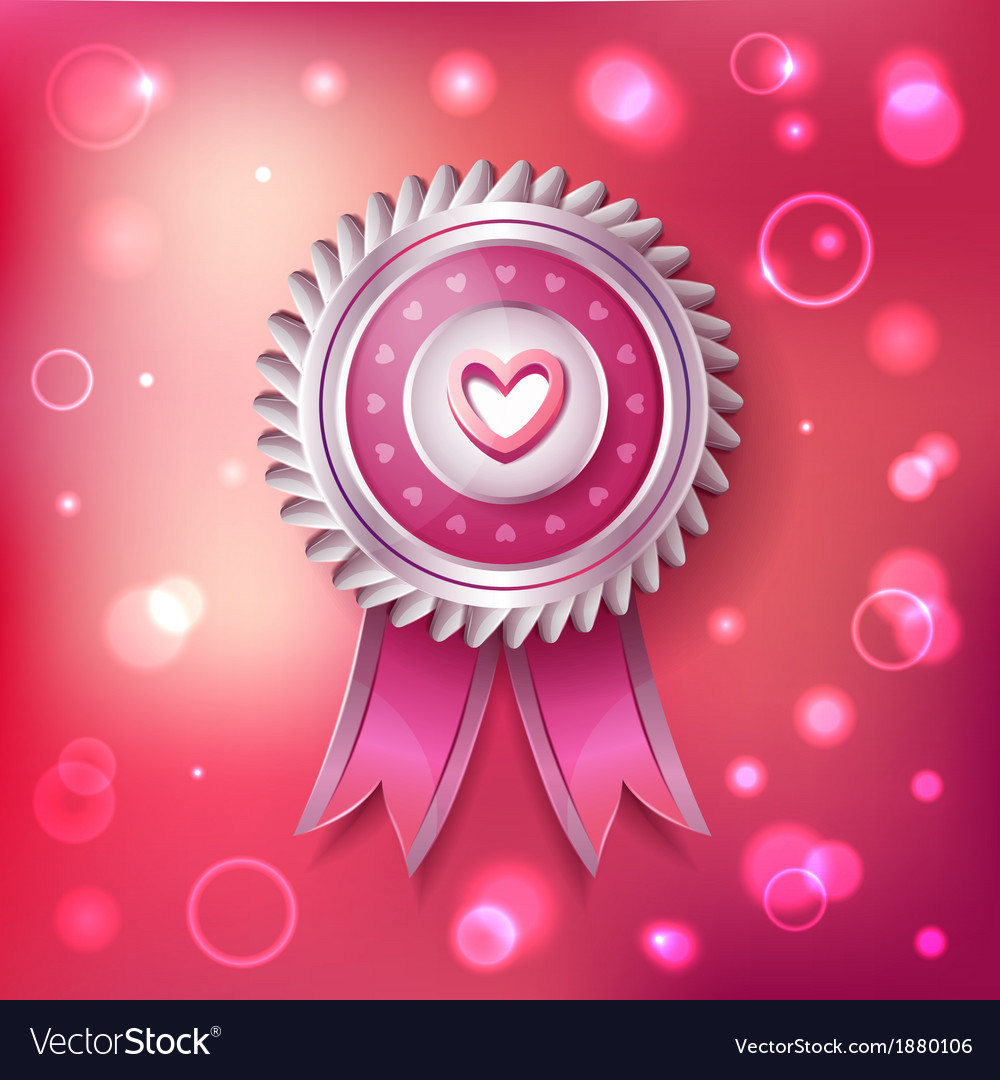 Valentine day pink label with ribbons vector | Price: 3 Credit (USD $3)