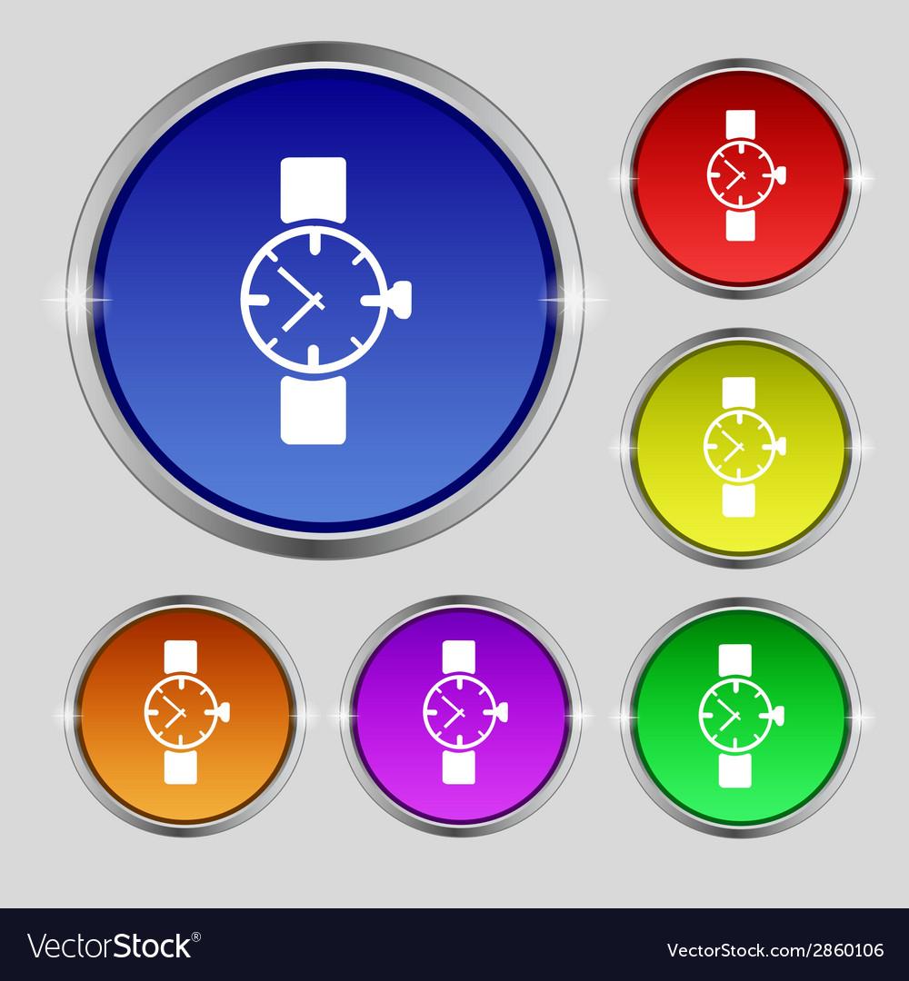 Wrist watch sign icon mechanical clock symbol set vector | Price: 1 Credit (USD $1)