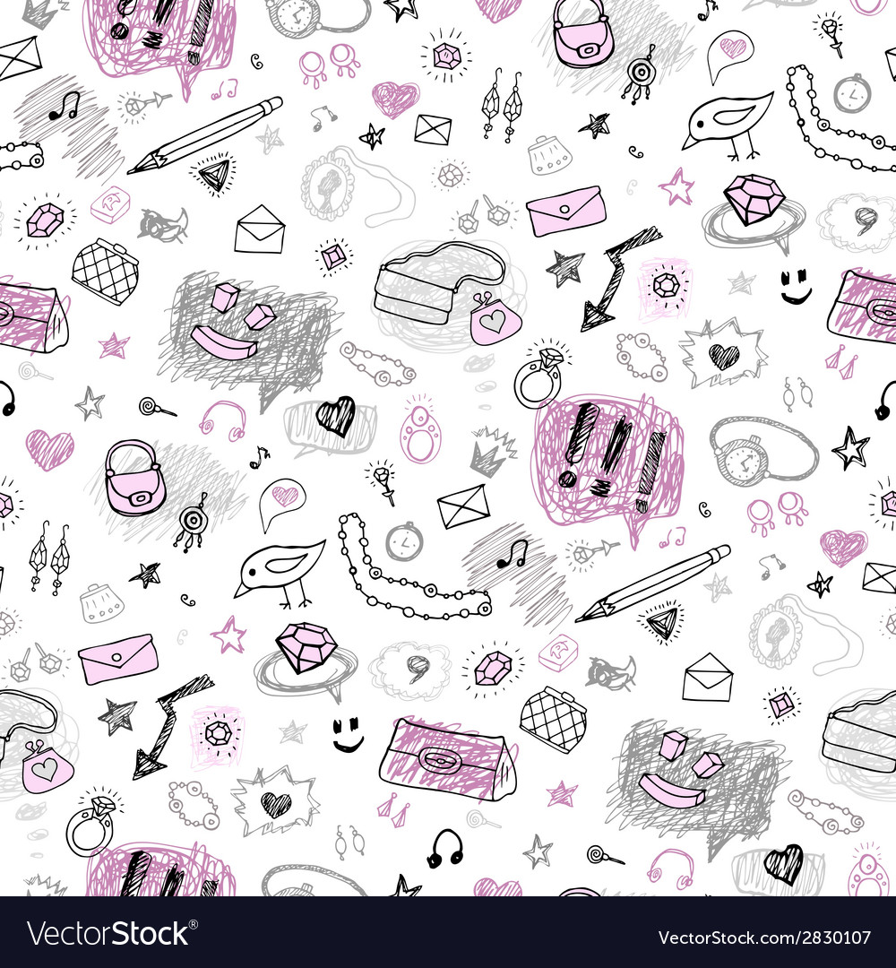 Accessories hand drawn seamless pattern vector   Price: 1 Credit (USD $1)