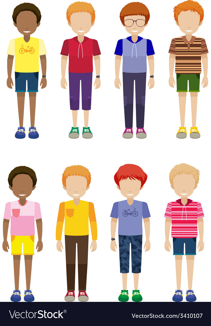 Eight faceless kids standing vector   Price: 1 Credit (USD $1)