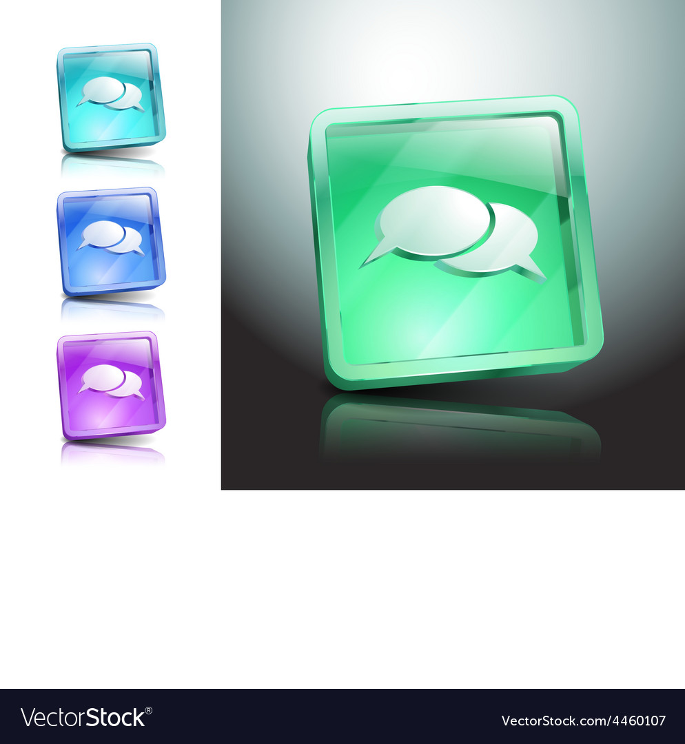Glass icons set green messaging talk vector | Price: 1 Credit (USD $1)