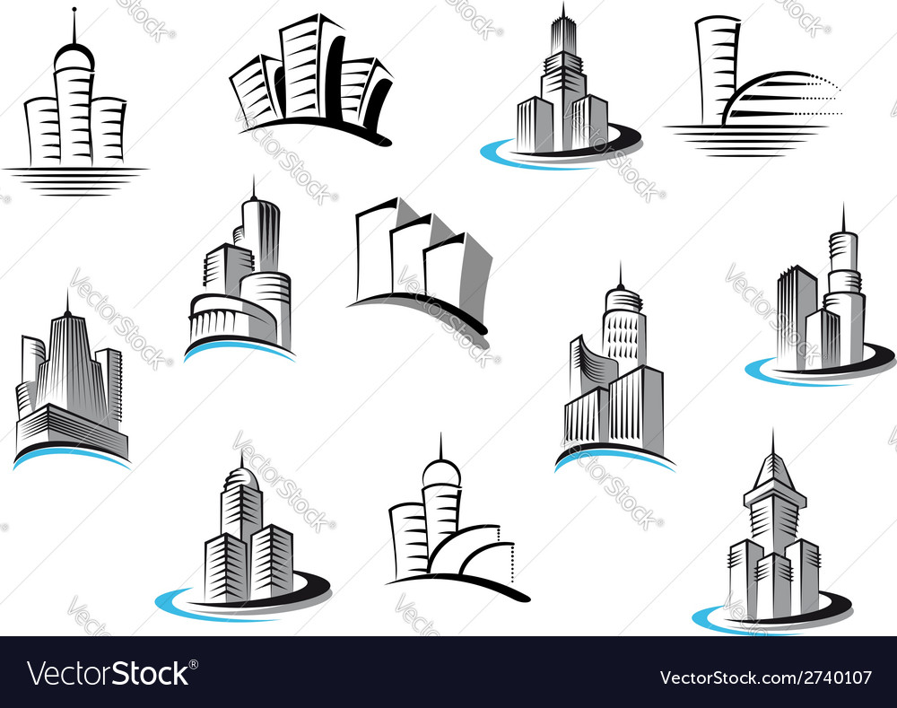 Office telecommunication and residential buildings vector | Price: 1 Credit (USD $1)