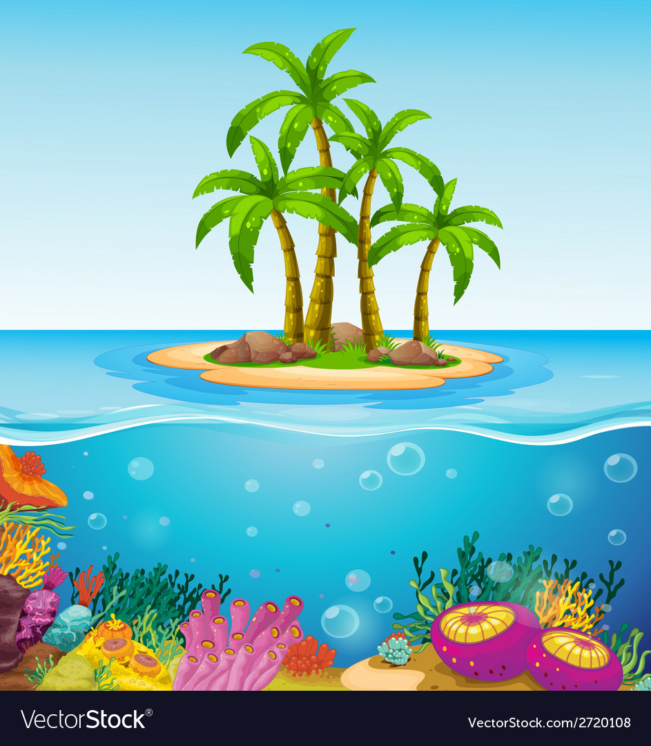 A beautiful island in the middle of the sea vector | Price: 1 Credit (USD $1)