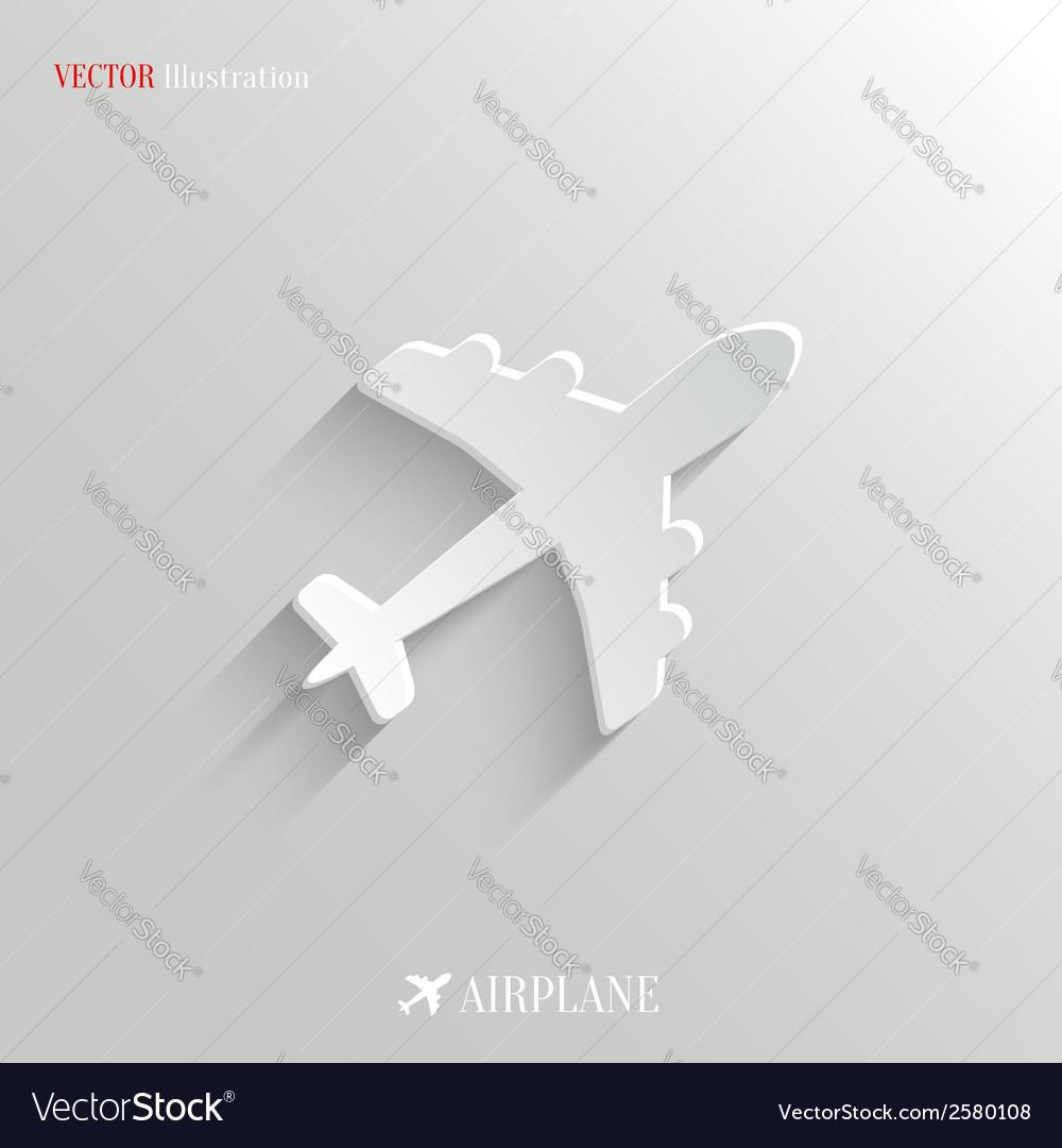 Airplane icon - white app button vector   Price: 1 Credit (USD $1)