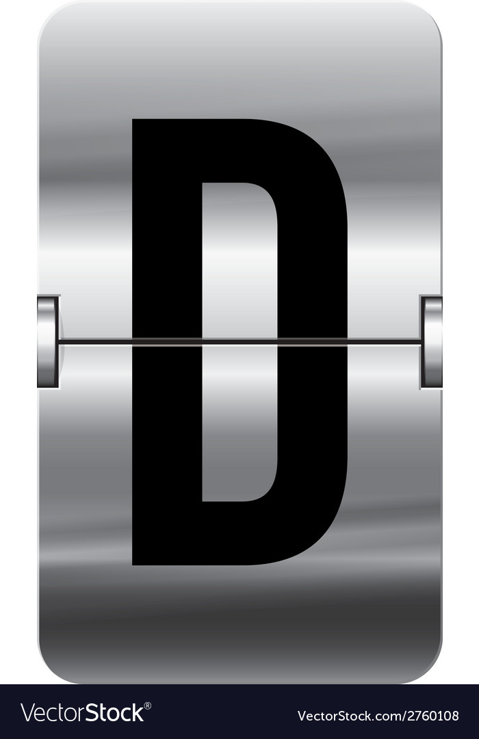 Alphabet silver flipboard letters d vector | Price: 1 Credit (USD $1)