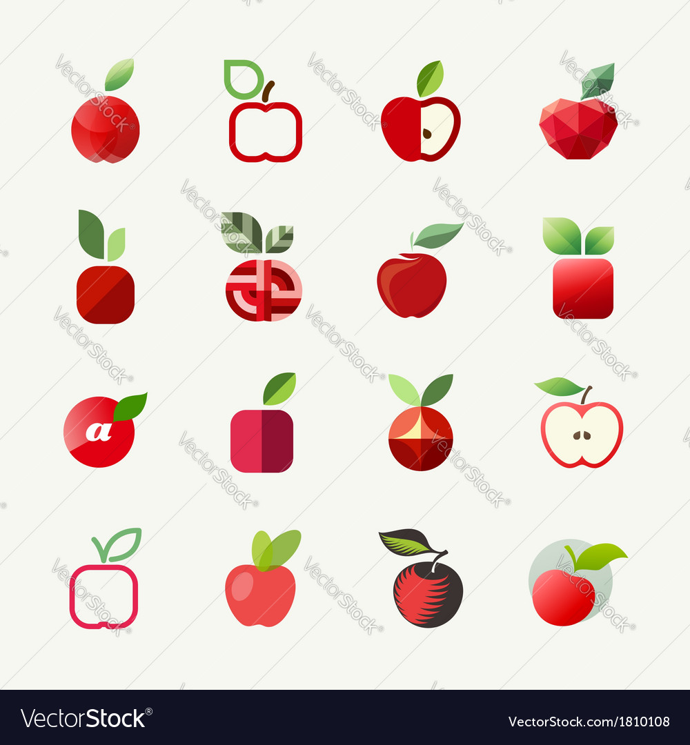 Apple logo templates set elements for design vector | Price: 1 Credit (USD $1)
