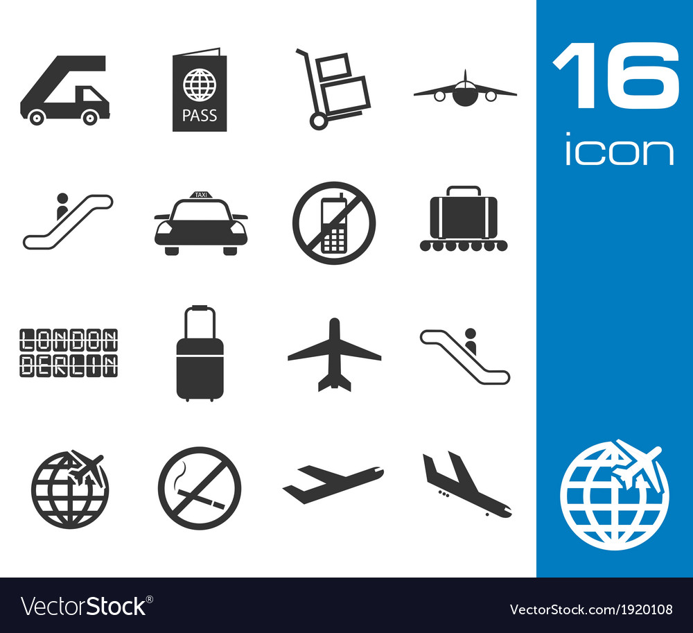 Black airport icons set on white background vector | Price: 1 Credit (USD $1)