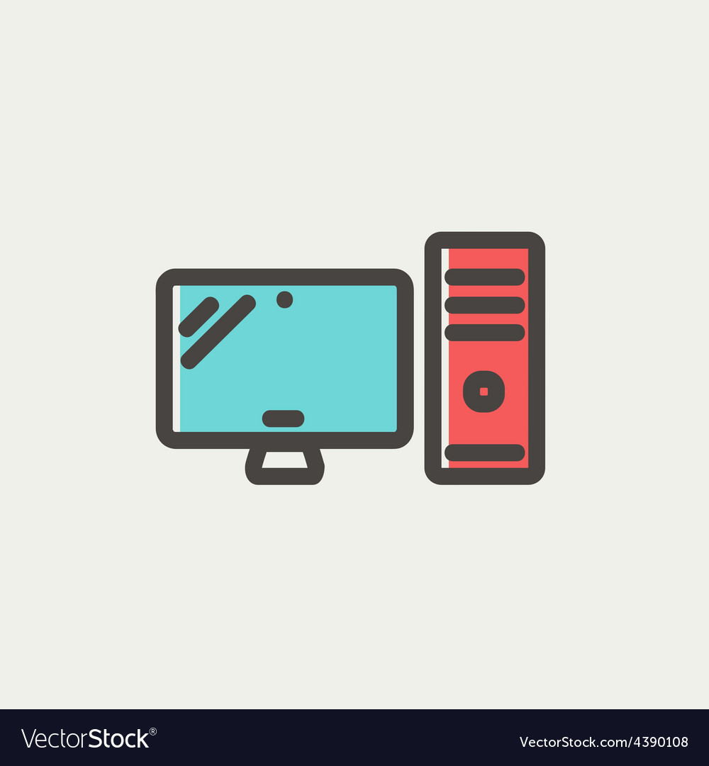 Cpu and monitor thin line icon vector | Price: 1 Credit (USD $1)