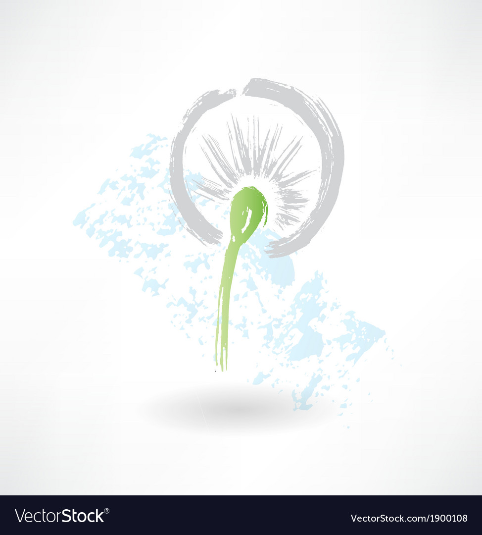 Dandelion grunge icon vector | Price: 1 Credit (USD $1)