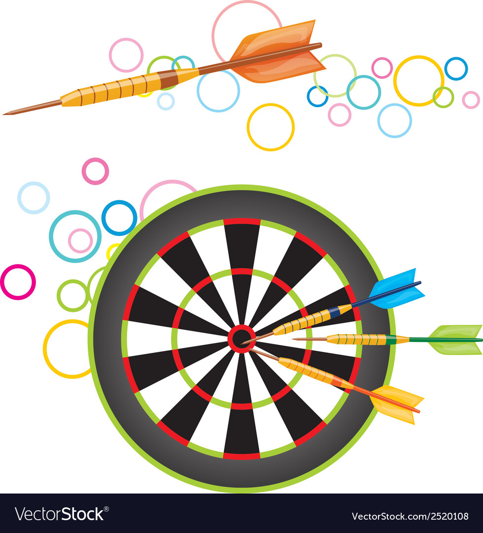 Darts with dartboard vector | Price: 1 Credit (USD $1)