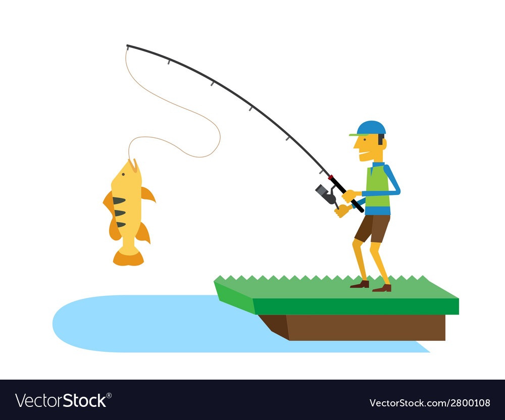 Fisherman and fish vector | Price: 1 Credit (USD $1)