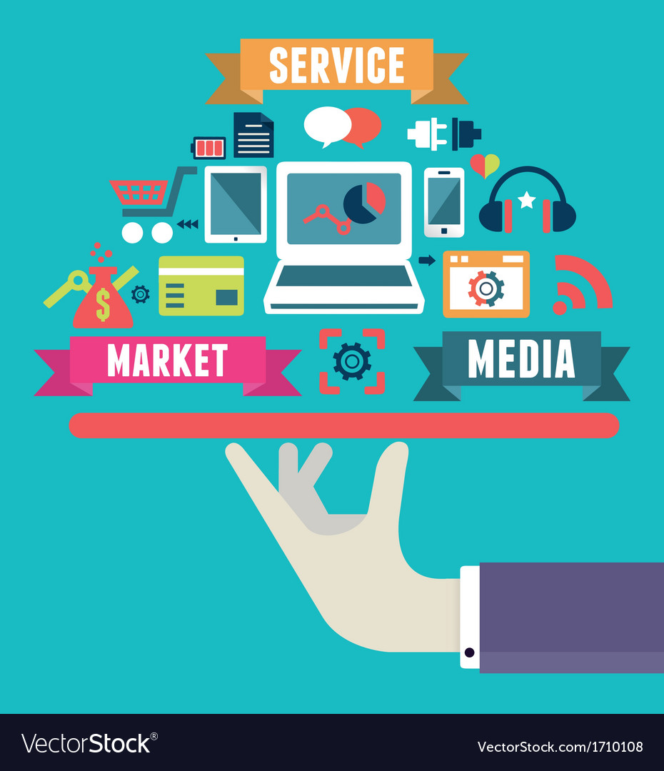 Flat concept of media market service vector | Price: 1 Credit (USD $1)