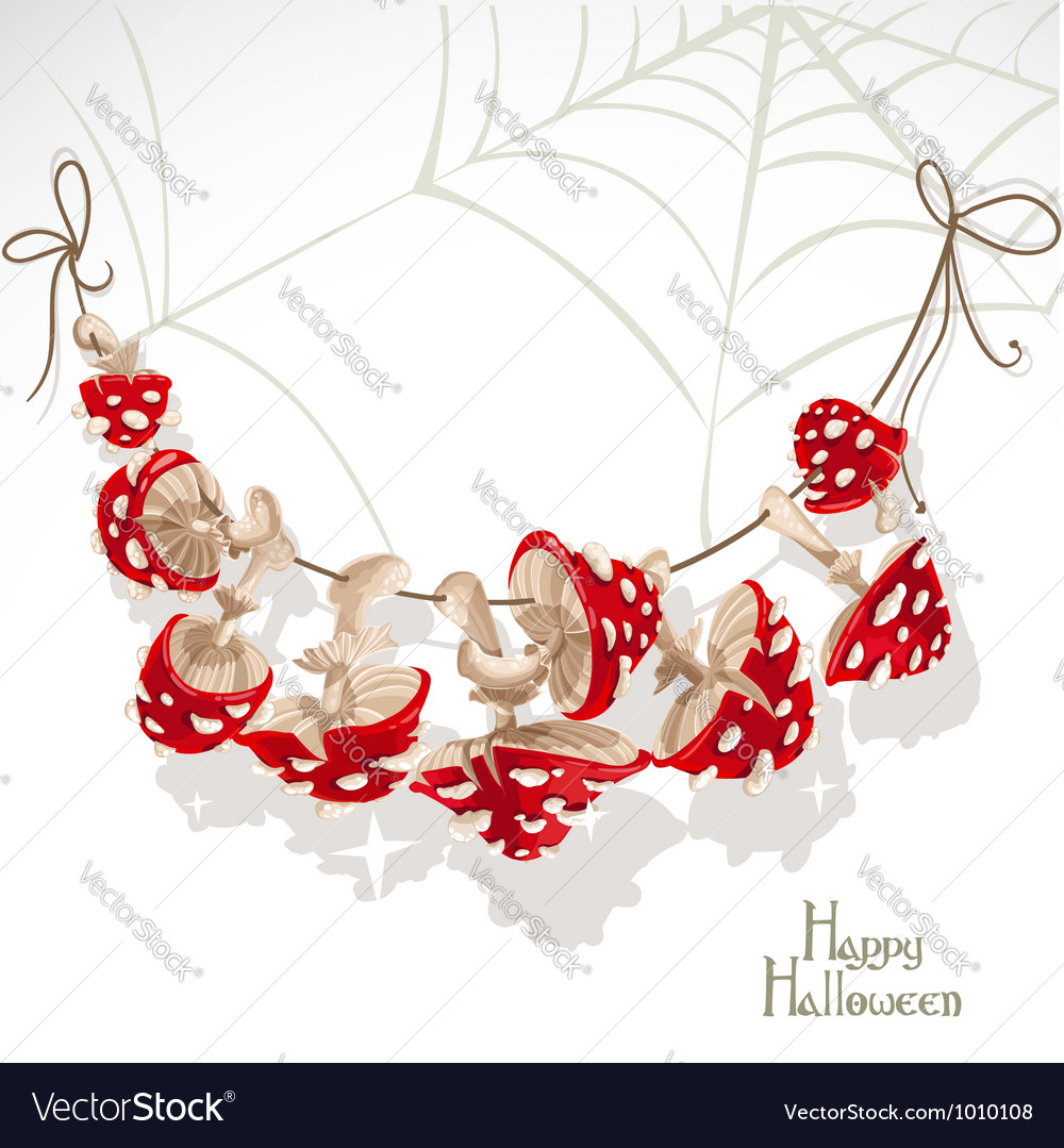 Halloween banner with a garland mushroom amanita vector | Price: 1 Credit (USD $1)