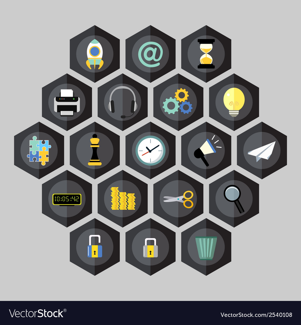 Hexagon business icons vector | Price: 1 Credit (USD $1)