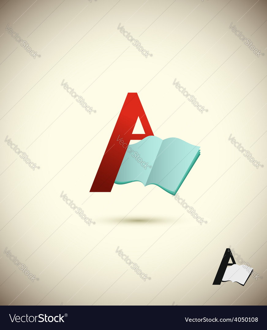 Logo letter a with an open book concept design for vector | Price: 1 Credit (USD $1)