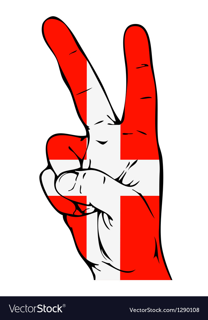 Peace sign of the danish flag vector | Price: 1 Credit (USD $1)