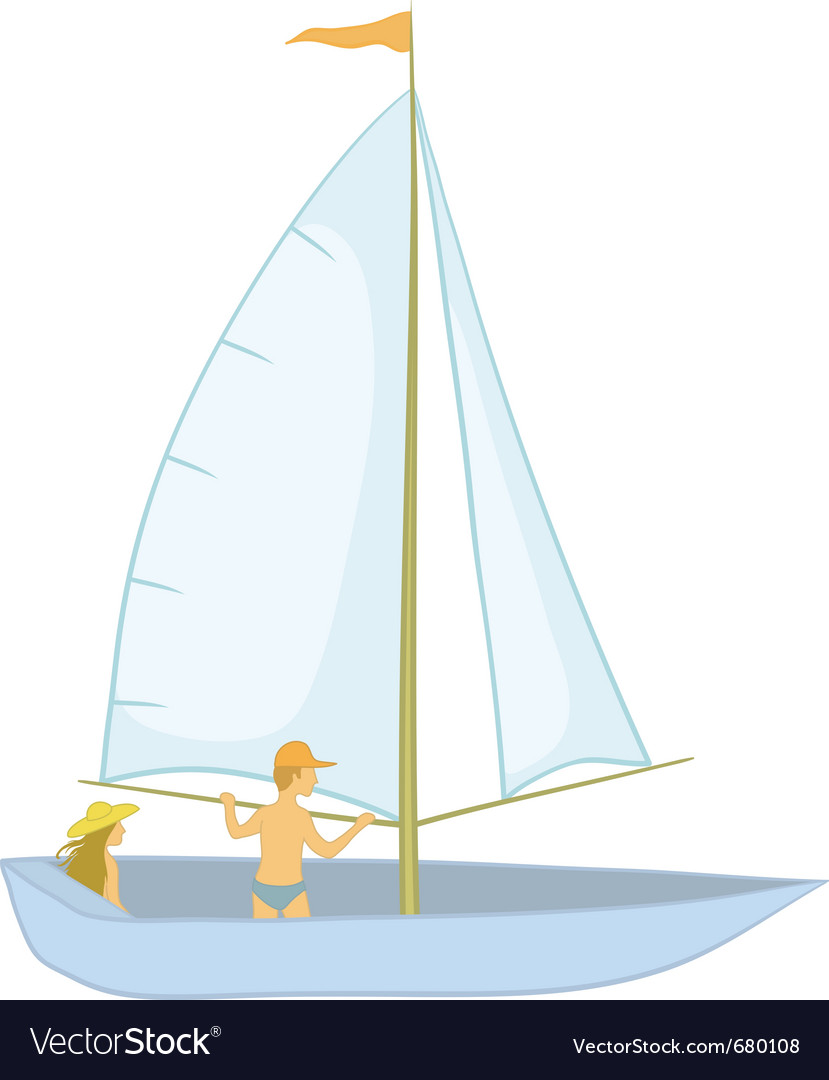 Sailing boat with a people vector | Price: 1 Credit (USD $1)