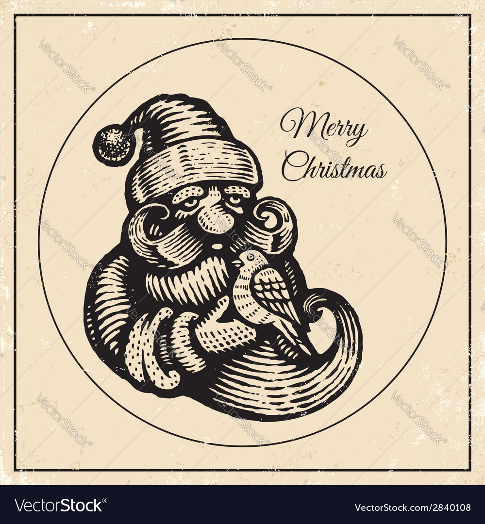 Santa vintage black 2015 vector | Price: 1 Credit (USD $1)