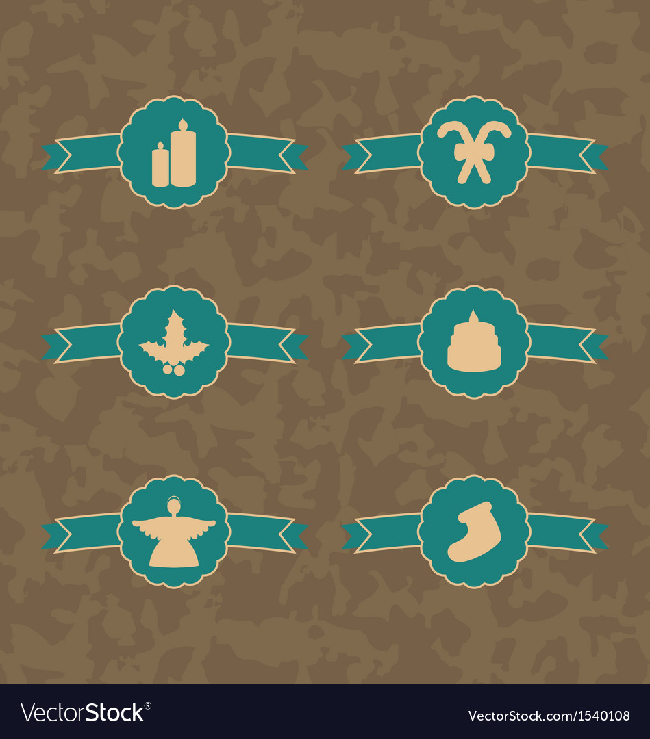Set christmas decoration vintage emblems vector | Price: 1 Credit (USD $1)