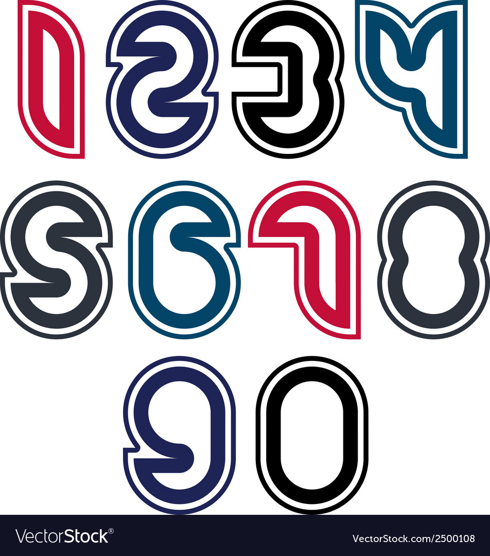 Stylish unusual rounded numbers colorful vector | Price: 1 Credit (USD $1)