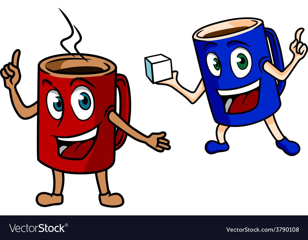 Two happy cartoon mugs of coffee vector | Price: 1 Credit (USD $1)