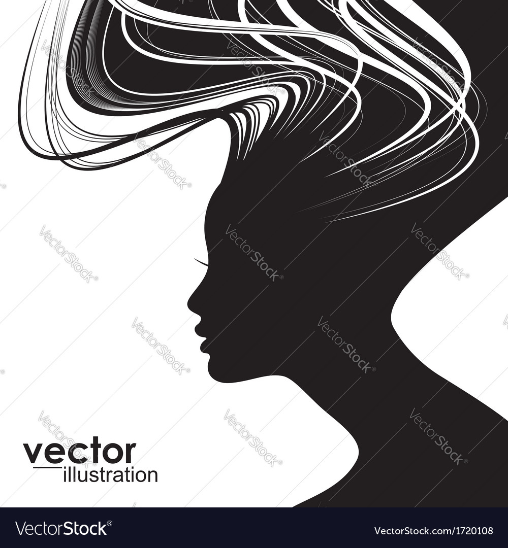 Woman hair style silhouette vector | Price: 1 Credit (USD $1)
