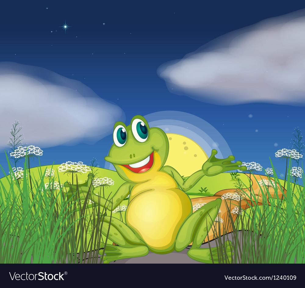 A big green frog at the road vector   Price: 1 Credit (USD $1)