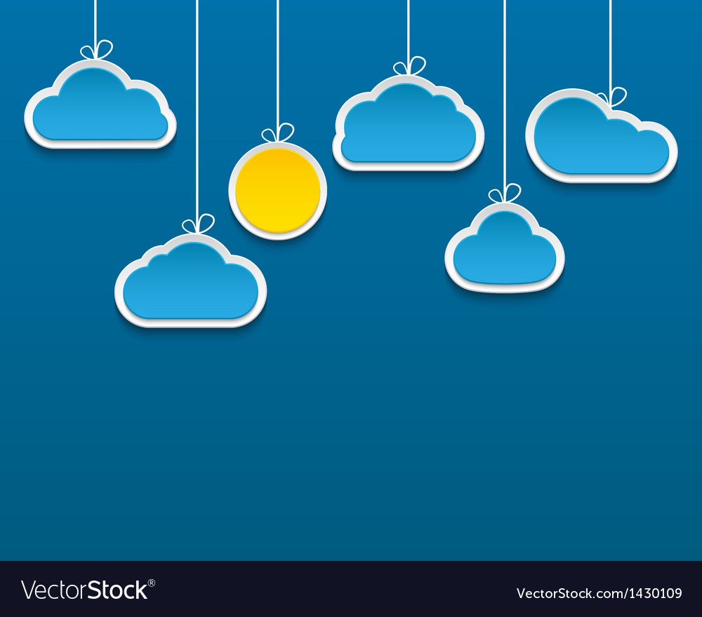 Abstract paper clouds and sun background vector