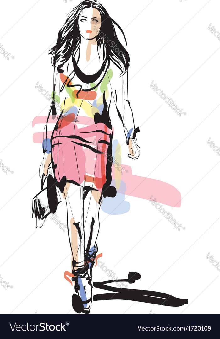 Artistic fashion sketch vector | Price: 1 Credit (USD $1)