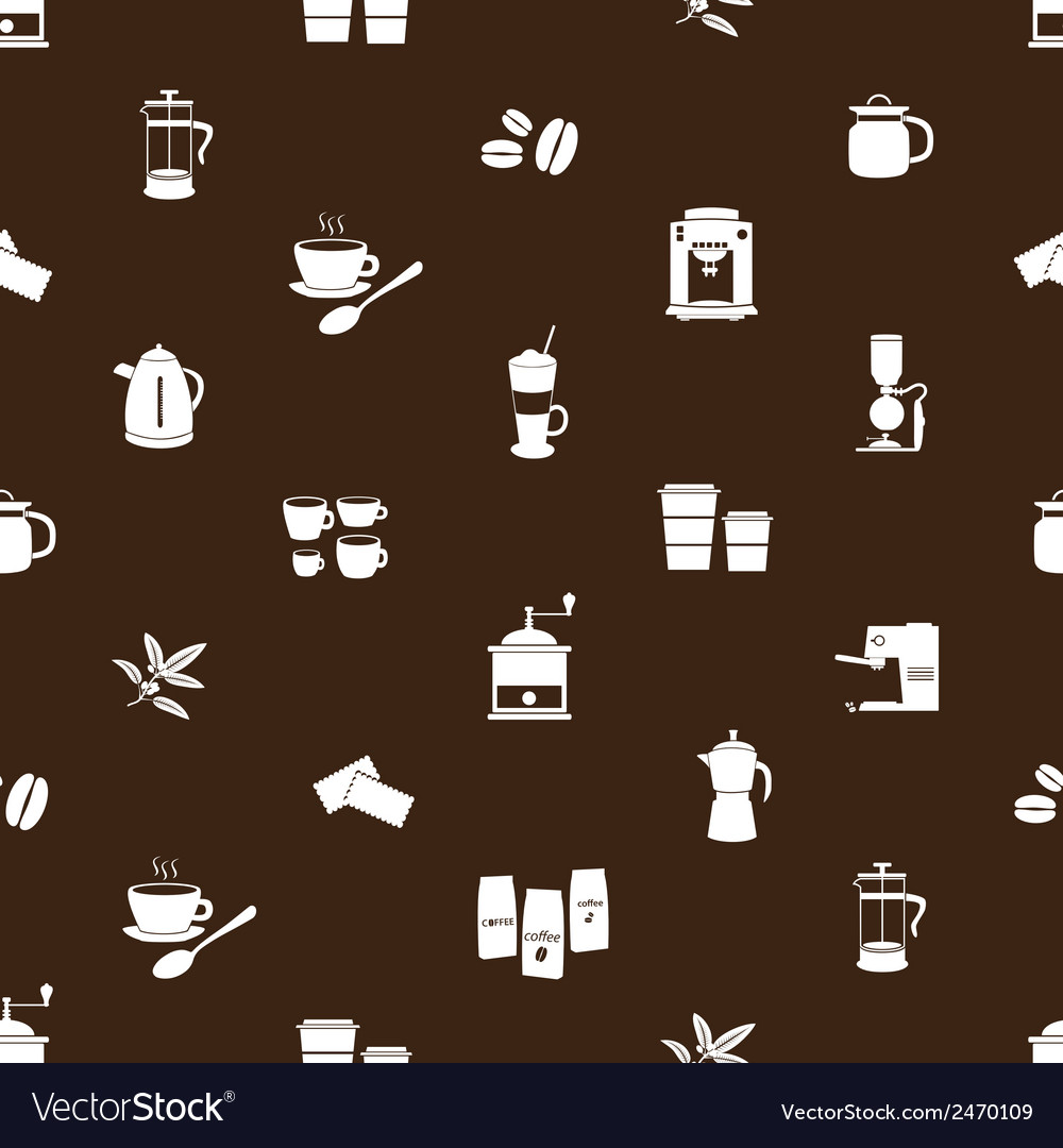Coffee icons brown and white pattern eps10 vector | Price: 1 Credit (USD $1)
