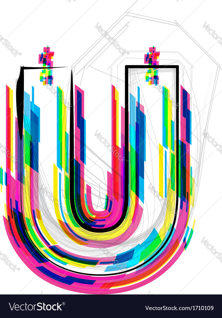Colorful font letter u vector | Price: 1 Credit (USD $1)