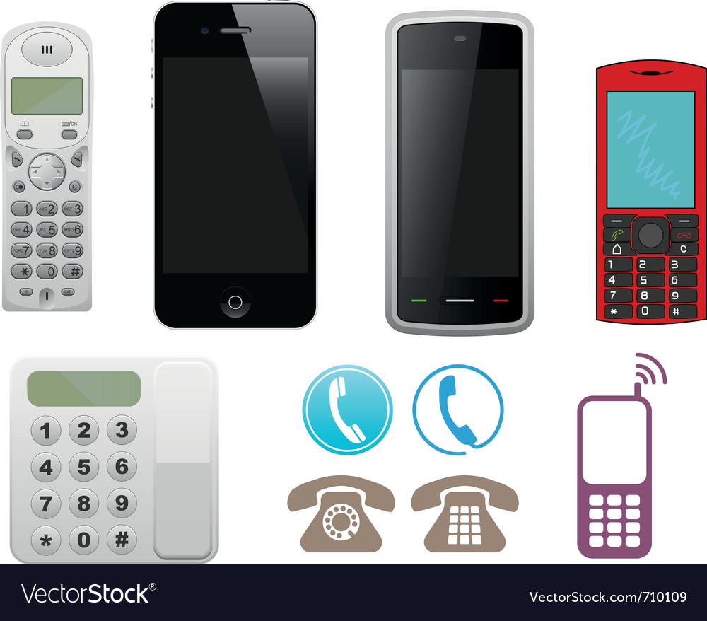 Different phone set vector | Price: 3 Credit (USD $3)