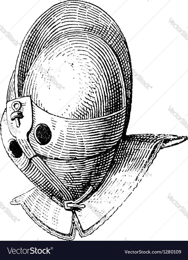 Gladiator helmet vintage engraving vector | Price: 1 Credit (USD $1)