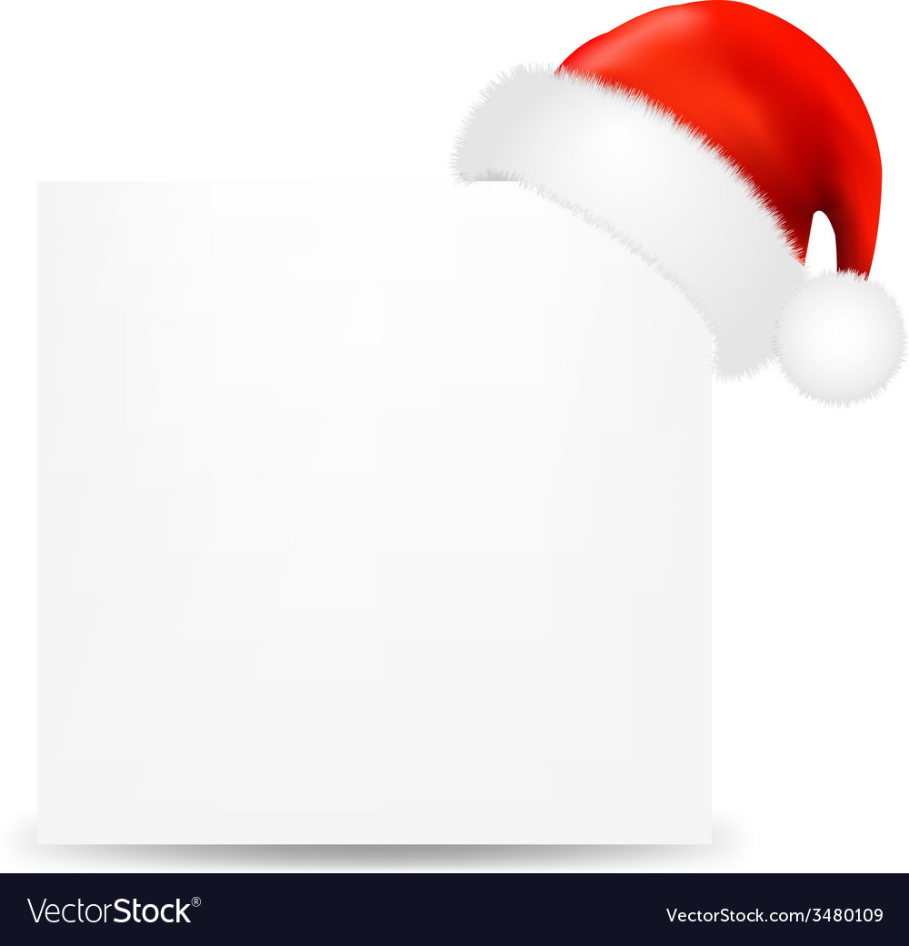 Happy christmas card with santa hat vector | Price: 1 Credit (USD $1)