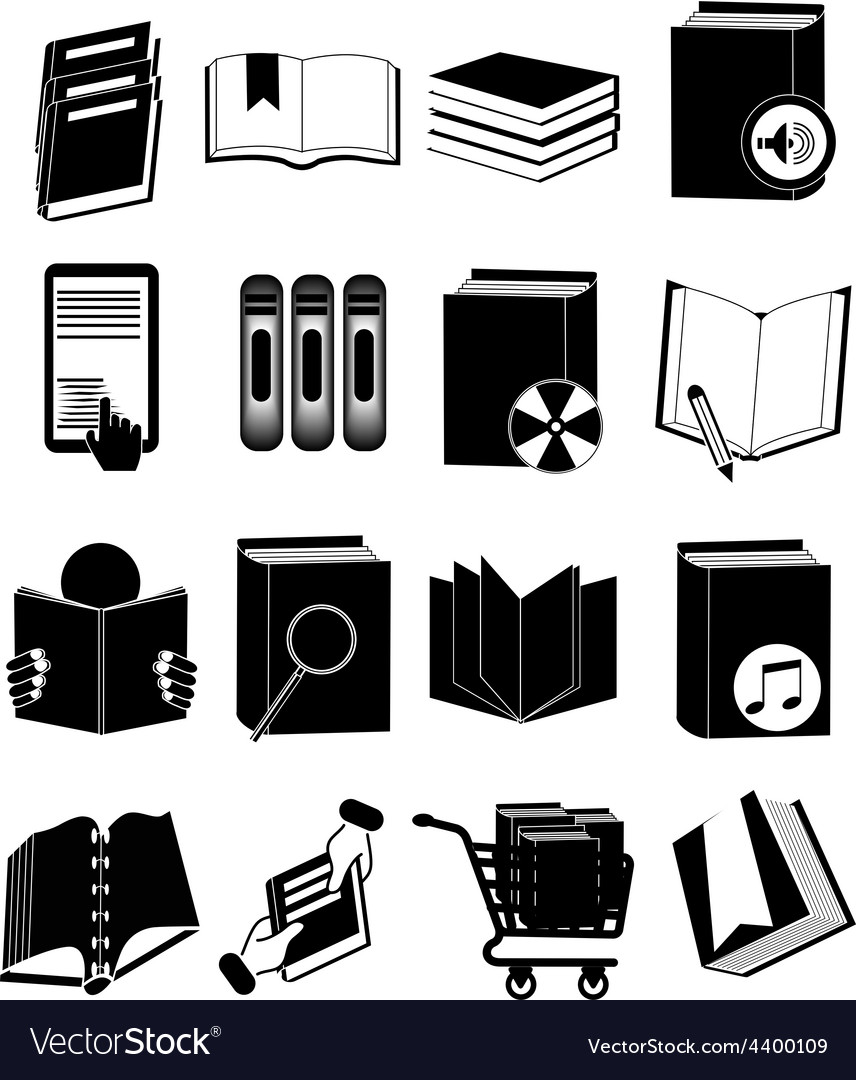 Library books icons set vector | Price: 3 Credit (USD $3)