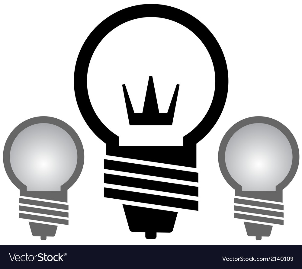 Light bulb with crown set vector | Price: 1 Credit (USD $1)