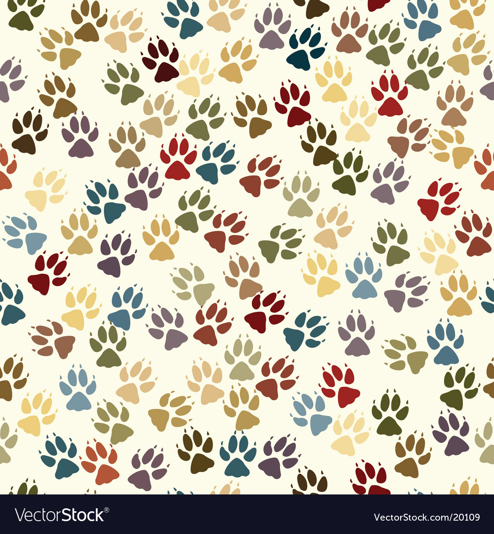 Paw seamless tile vector | Price: 1 Credit (USD $1)