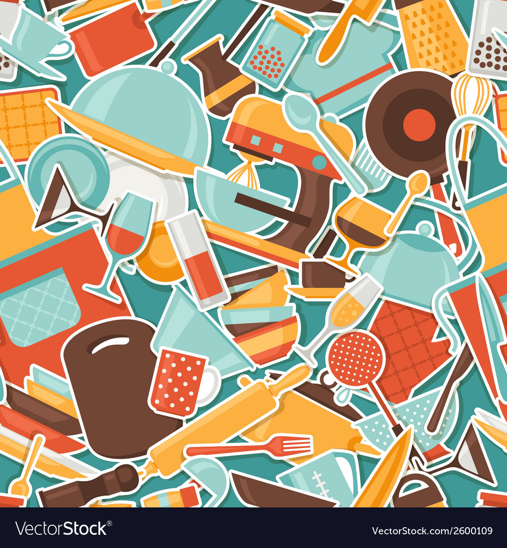 Seamless pattern with restaurant and kitchen vector | Price: 1 Credit (USD $1)