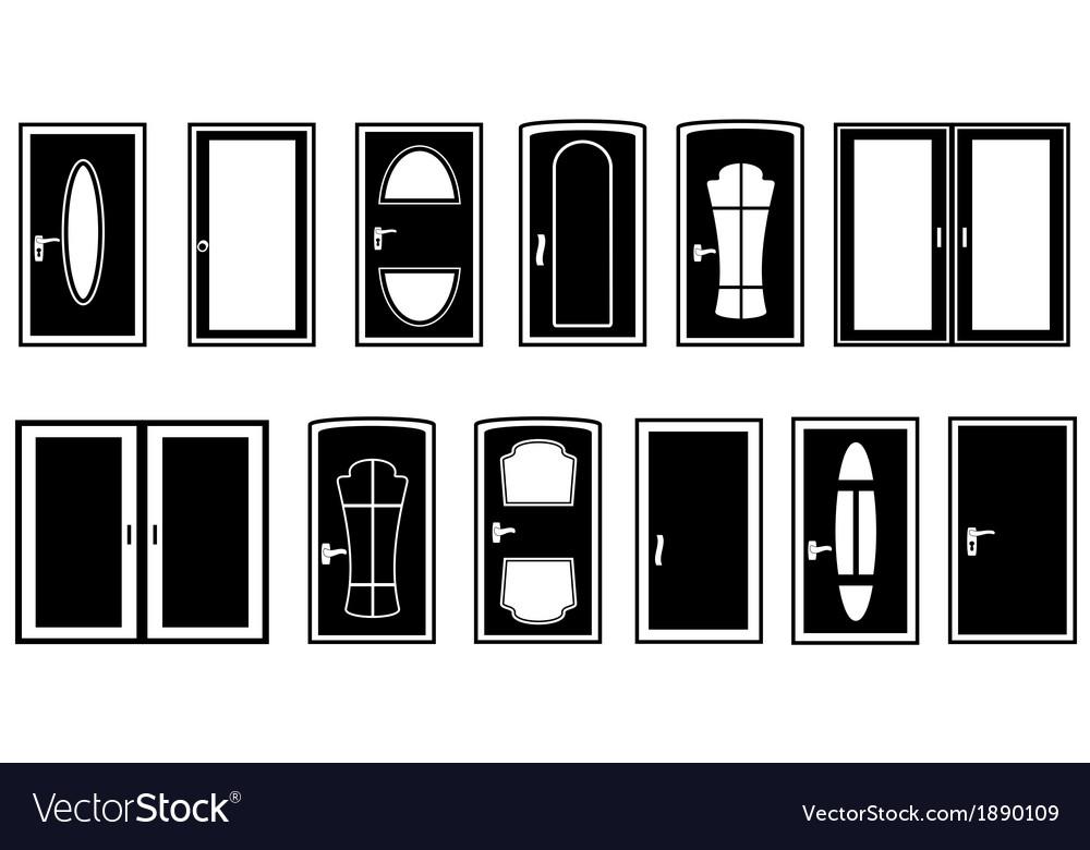 Set doors black silhouette vector | Price: 1 Credit (USD $1)