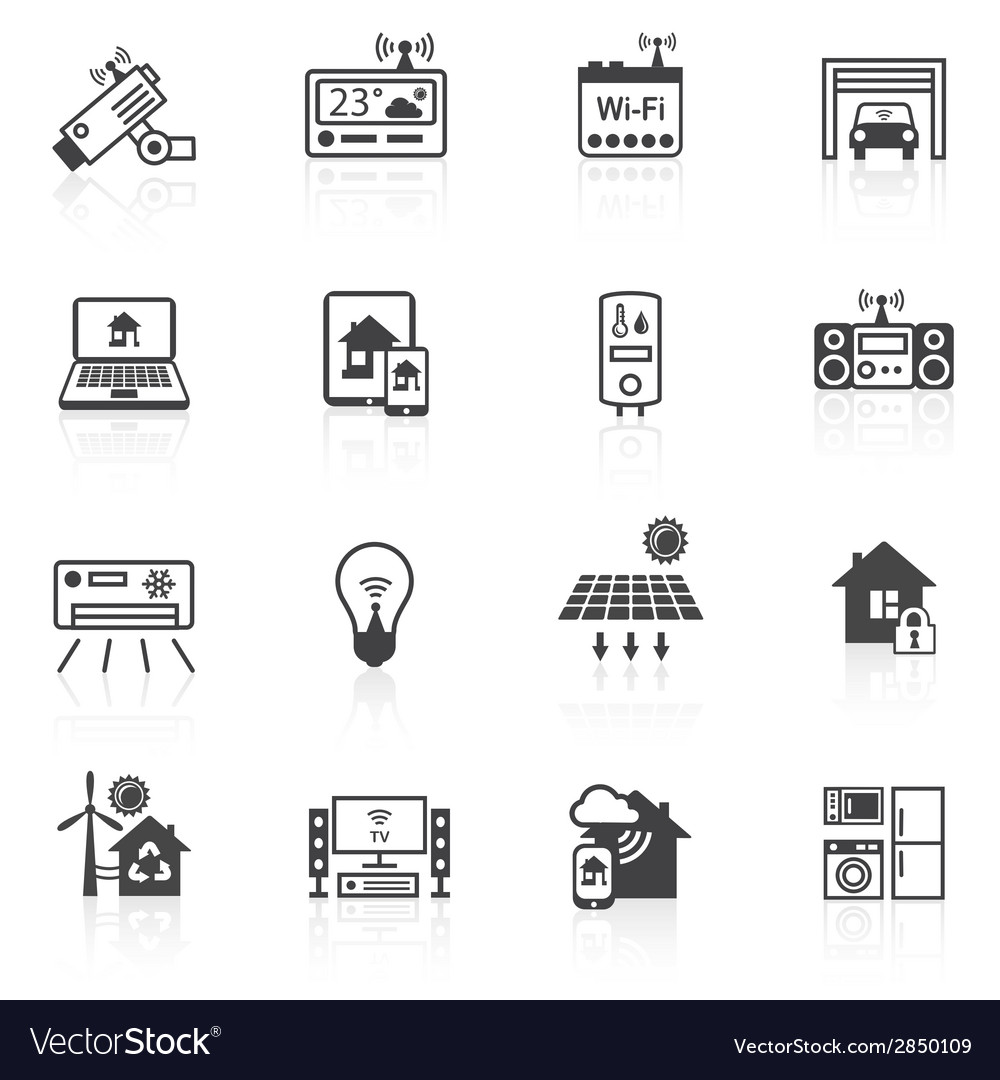 Smart home icons black vector