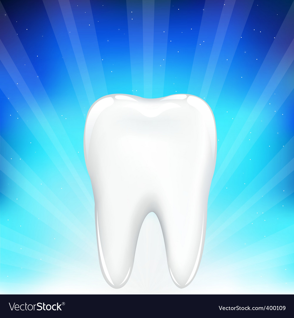 Tooth on blue background vector | Price: 1 Credit (USD $1)